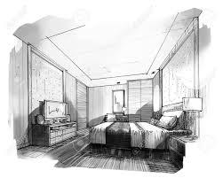 chambre en perspective croquis perspective intérieure rayures chambre couleur noir et