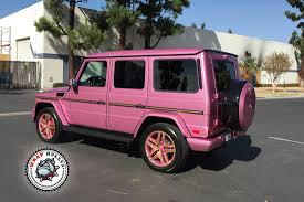 pink mercedes mercedes benz g63 amg wrapped in gloss raspberry fizz wrap bullys