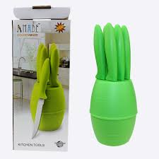 jc 012 6pcs popular stainless steel kitchen knife set with plastic