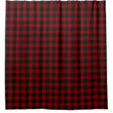 Red Black Shower Curtain Red Plaid Shower Curtains Zazzle