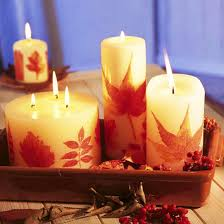11 candles centerpieces with rowan berries and hips