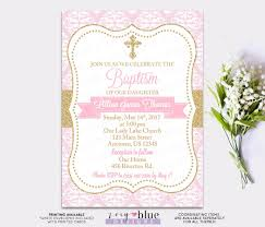 Invitation Cards For Christening Pink Gold Baptism Invitation Baby Christening Invite