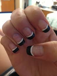 black french tips with a white line under it nail designs