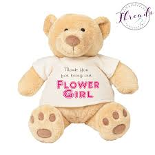 flower girl teddy personalised flower girl thank you teddy personalised dressing