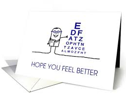 feel better cards get well soon feel better after eye surgery card thank you