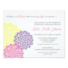 blessing baby modern bloom baby dedication blessing invitation zazzle