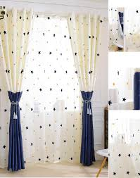 White And Navy Curtains White Navy Yarn Sheer Curtains