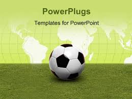 powerpoint template soccer ball on green pitch with world map in