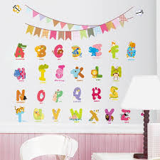 Aliexpresscom  Buy Animal Letters Characters Wall Sticker Flag - Alphabet wall decals for kids rooms