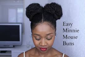 easy minnie mouse buns on natural hair protective hairstyle