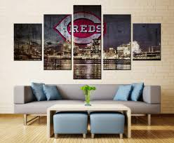 cincinnati reds home decor 5 piece cincinnati reds baseball canvas wall art paintings for sale