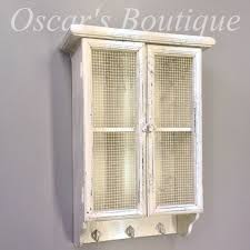 Kitchen Display Cabinet White Wall Shelf Display Cabinet Unit Kitchen Mesh Door Shabby