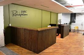 Wood Reception Desk by Custom Reclaimed Wood Reception Desk In Kitchener Office Blog