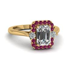 sapphire emerald cut engagement rings emerald cut high set halo ring with pink sapphire in 14k