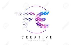fe f e pink magenta dotted bubble letter logo design dots