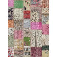 Patchwork Area Rug Ruggable Washable Patchwork Boho Multi Color 5 Ft X 7 Ft Stain