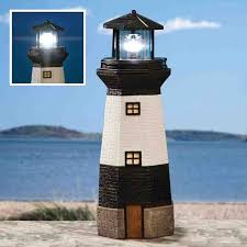 solar powered light house garden lighthouse ornament rotating led