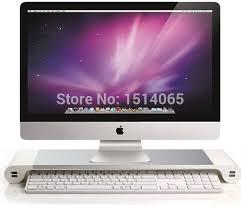 mac ordinateur de bureau blanc premium aluminium moniteur stand avec 4 ports usb pour imac