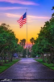 American Flag Sunset Veterans Memorial Island Sanctuary America Flag Vero Beach Florida