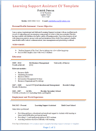 Ece Sample Resume by Learning Support Assistant Cv Example Preview Education