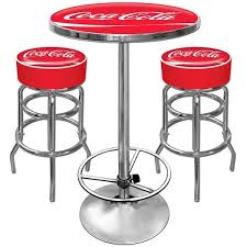 Bar Table And Stool Coca Cola Pub Table And 2 Bar Stools Set Free Shipping Today