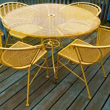 Yellow Patio Chairs Vintage Yellow Wrought Iron Patio Garden By Lookingforyesterday
