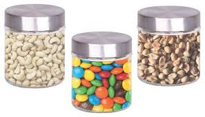 glass canister with stainless steel lids 3 piece set