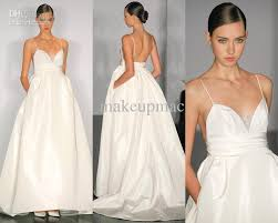 spaghetti wedding dress discount spaghetti v neck taffeta a line gown wedding dress
