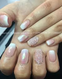 natural gel ombre polish with crystal pixie swarovski nail art