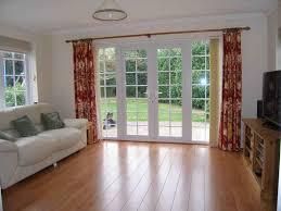Decorative Patio Doors Outdoor Wood Flooring With Decorative Curtain And Patio