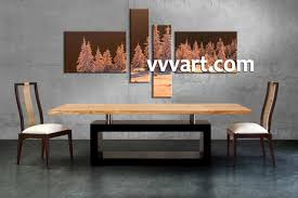 Dining Room Wall Panels 4 Piece Brown Canvas Snow Sepia Landscape Multi Panel Art