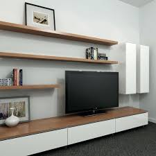 Floating Bookcases Wooden Floating Media Cabinet With Unique Doors And Bookshelf
