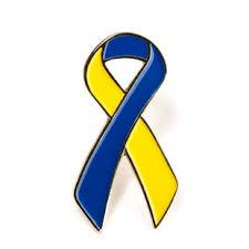 yellow blue ribbon lapel pin awareness metal lapel pin downs