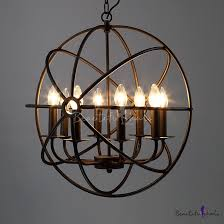 industrial orb chandelier in black with globe cage 8 light