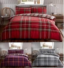 tartan check brushed cotton flannelette duvet cover flannel