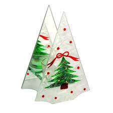 frosted christmas tree shaped single tealight holder christmas