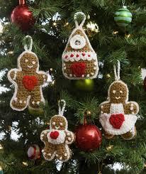 gingerbread tree ornaments free crochet pattern in red heart yarns