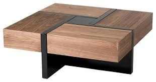 modrest makai modern walnut and black square coffee table