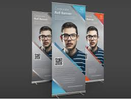 download corporate roll banner template free green hat world