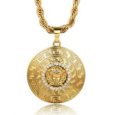 chain gold necklace images Halukakah quot medusa quot men 39 s 18k stamp real gold plated 3d pendant JPG