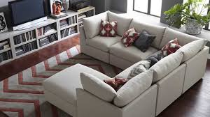 furniture ethan allen sectional sofas in beige with pattern rug