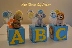 baby block shower centerpiece jungle animals baby shower