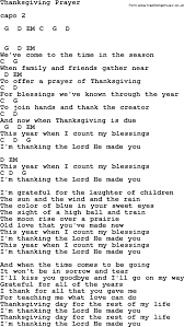 johnny song thanksgiving prayer lyrics and chords