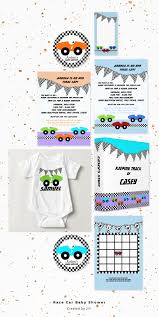 racing baby shower invitation set in two color combinations for