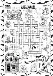 esl worksheets for beginners halloween crossword