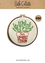 Kitchen Embroidery Designs Thyme Modern Embroidery Pattern Botanical Art Herb Garden