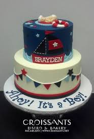 nautical baby shower cakes ahoy it s a boy nautical baby shower cake croissants myrtle