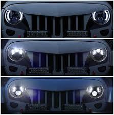 jeep wrangler blue headlights amazon com opar 7 led headlights halo drl turn