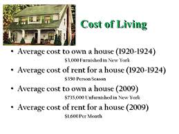 average cost of rent the american standard of living