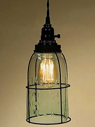 Jar Pendant Light Rustic Half Gallon Caged Jar Open Bottom Industrial Pendant